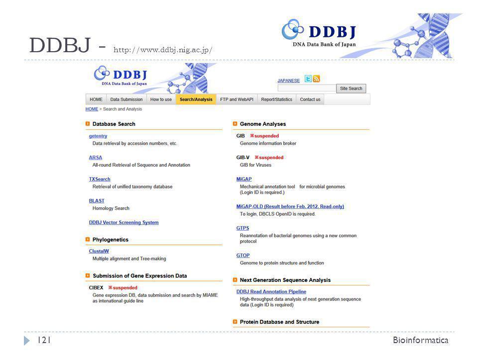 DDBJ - http://www.ddbj.nig.ac.jp/ Bioinformatica121
