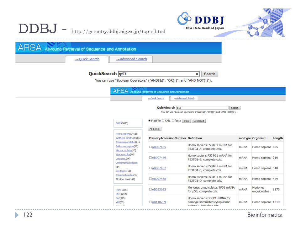 DDBJ - http://getentry.ddbj.nig.ac.jp/top-e.html Bioinformatica122