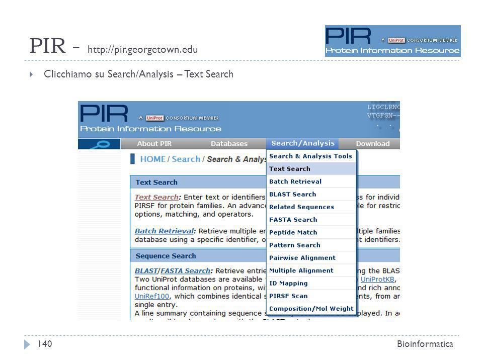 PIR - http://pir.georgetown.edu Clicchiamo su Search/Analysis – Text Search Bioinformatica140