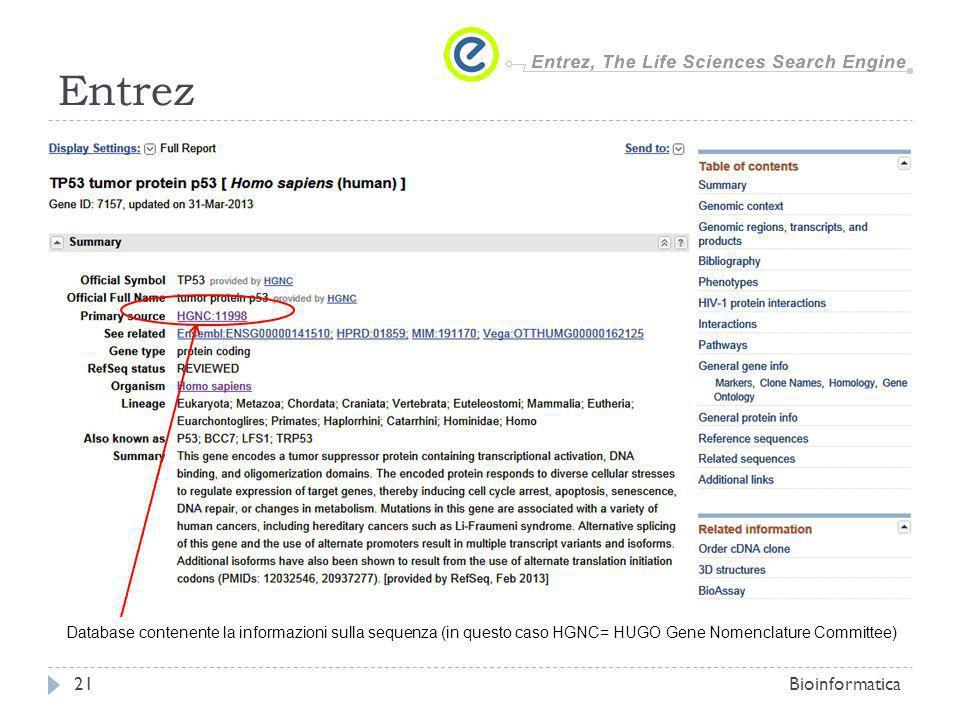 Entrez Bioinformatica21 Database contenente la informazioni sulla sequenza (in questo caso HGNC= HUGO Gene Nomenclature Committee)