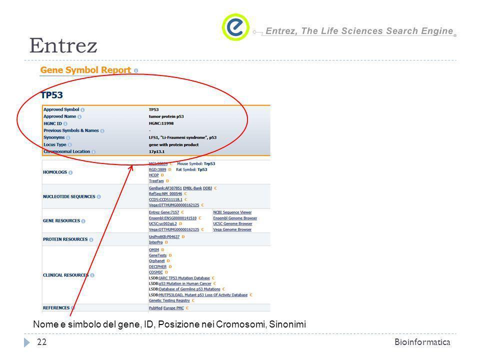 Entrez Bioinformatica22 Nome e simbolo del gene, ID, Posizione nei Cromosomi, Sinonimi