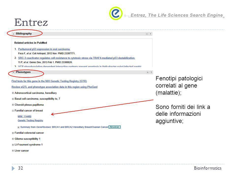 Entrez Bioinformatica32 Fenotipi patologici correlati al gene (malattie); Sono forniti dei link a delle informazioni aggiuntive;
