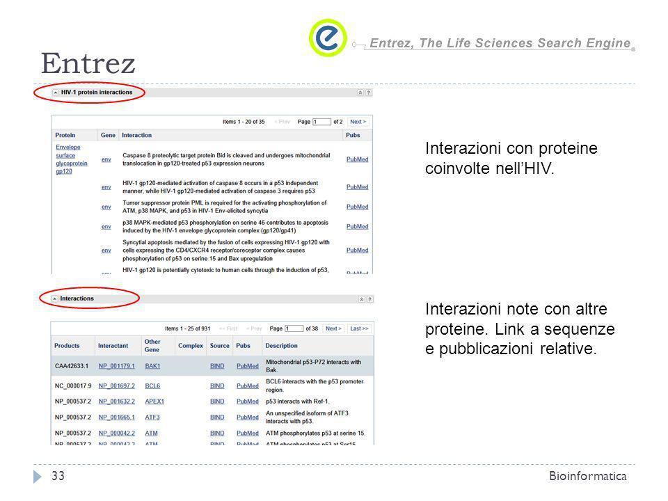 Entrez Bioinformatica33 Interazioni con proteine coinvolte nellHIV. Interazioni note con altre proteine. Link a sequenze e pubblicazioni relative.