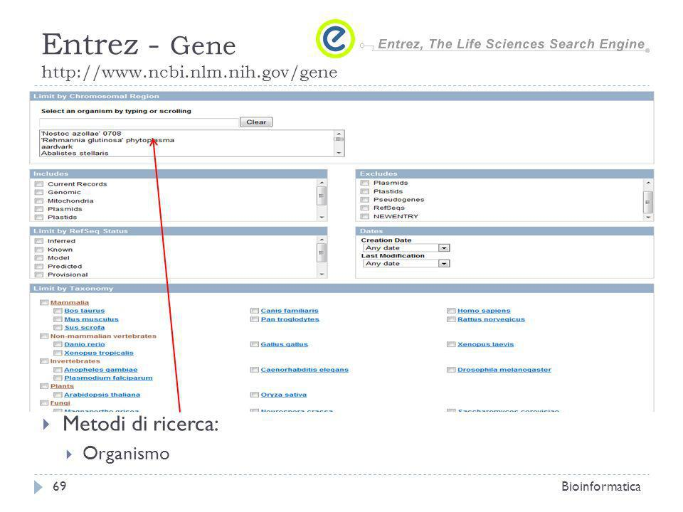 Metodi di ricerca: Organismo Bioinformatica69 Entrez - Gene http://www.ncbi.nlm.nih.gov/gene
