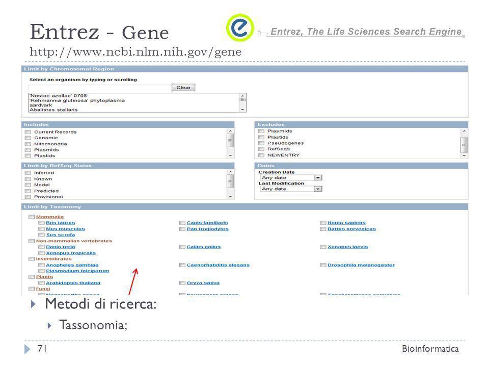 Metodi di ricerca: Tassonomia; Bioinformatica71 Entrez - Gene http://www.ncbi.nlm.nih.gov/gene