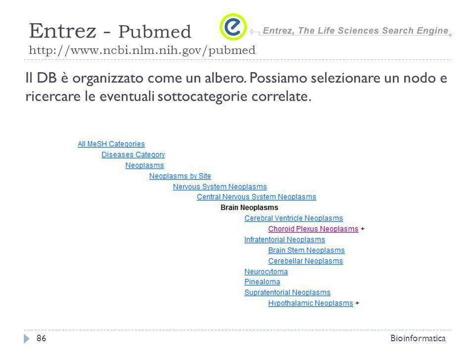 Bioinformatica86 Entrez - Pubmed http://www.ncbi.nlm.nih.gov/pubmed Il DB è organizzato come un albero. Possiamo selezionare un nodo e ricercare le ev