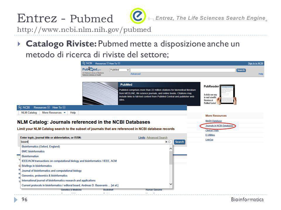 Catalogo Riviste: Pubmed mette a disposizione anche un metodo di ricerca di riviste del settore; Bioinformatica96 Entrez - Pubmed http://www.ncbi.nlm.