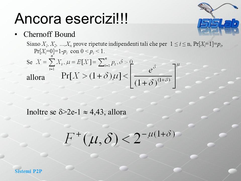 Sistemi P2P Chernoff Bound Siano X 1, X 2, …,X n prove ripetute indipendenti tali che per 1 i n, Pr[X i =1]=p i, Pr[X i =0]=1-p i con 0 < p i < 1. Se