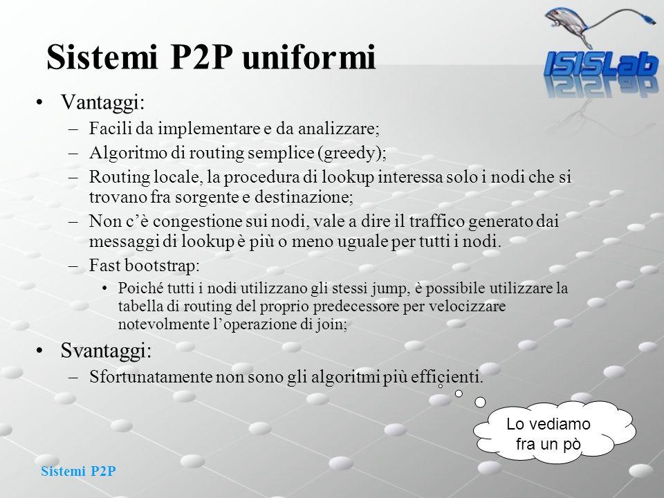 Sistemi P2P Sistemi P2P uniformi Vantaggi: –Facili da implementare e da analizzare; –Algoritmo di routing semplice (greedy); –Routing locale, la proce