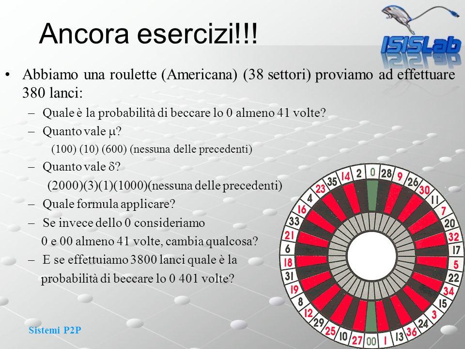 Sistemi P2P Abbiamo una roulette (Americana) (38 settori) proviamo ad effettuare 380 lanci: –Quale è la probabilità di beccare lo 0 almeno 41 volte? –
