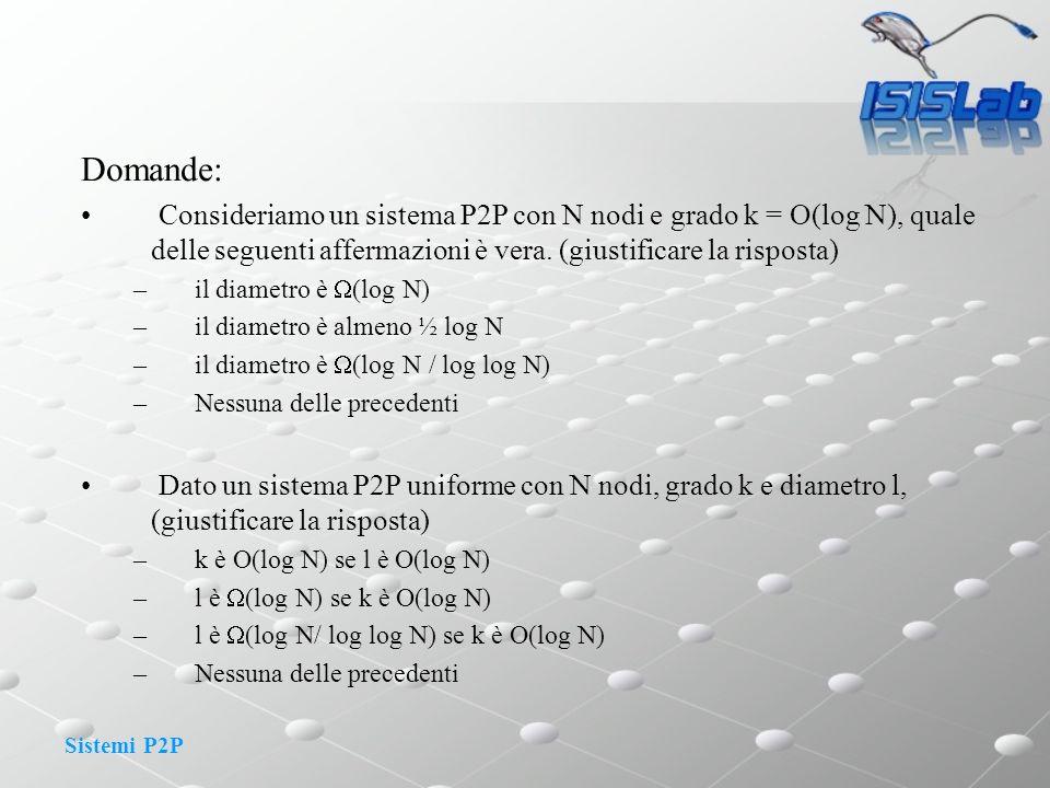 Sistemi P2P Domande: Consideriamo un sistema P2P con N nodi e grado k = O(log N), quale delle seguenti affermazioni è vera. (giustificare la risposta)