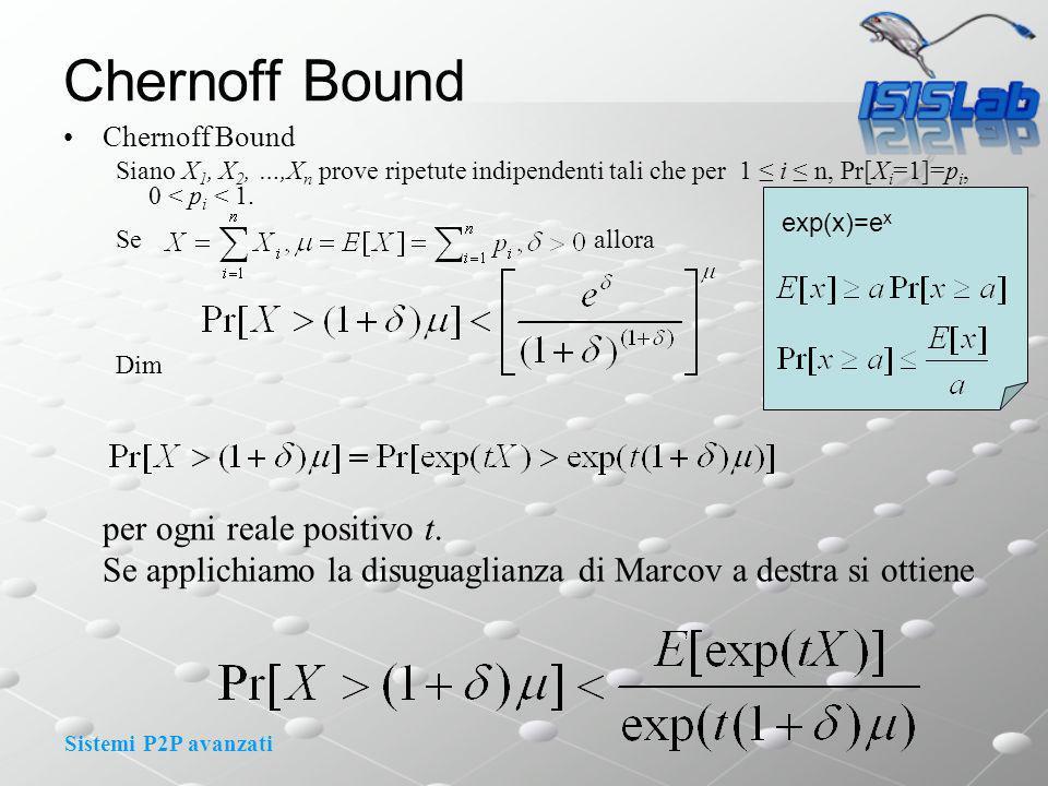 Sistemi P2P avanzati Chernoff Bound Siano X 1, X 2, …,X n prove ripetute indipendenti tali che per 1 i n, Pr[X i =1]=p i, 0 < p i < 1.