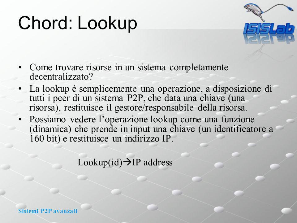 Sistemi P2P avanzati Chord: Lookup Come trovare risorse in un sistema completamente decentralizzato.