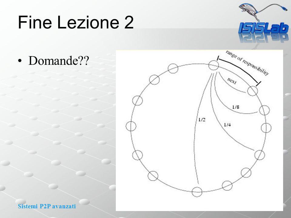Sistemi P2P avanzati Fine Lezione 2 Domande??
