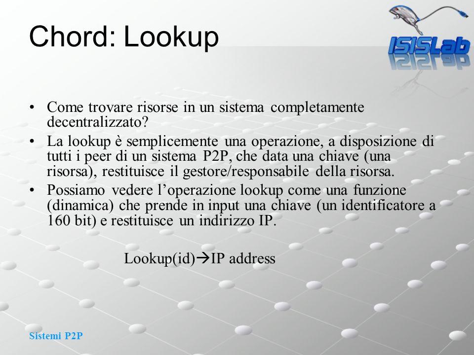 Sistemi P2P Chord: Lookup Come trovare risorse in un sistema completamente decentralizzato? La lookup è semplicemente una operazione, a disposizione d