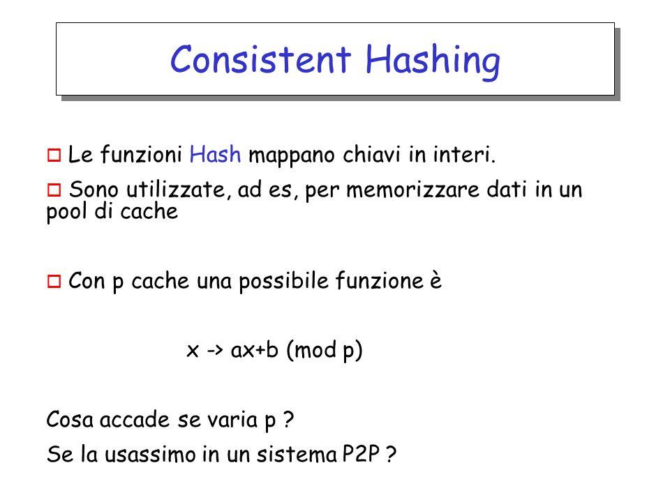 o Le funzioni Hash mappano chiavi in interi. o Sono utilizzate, ad es, per memorizzare dati in un pool di cache o Con p cache una possibile funzione è
