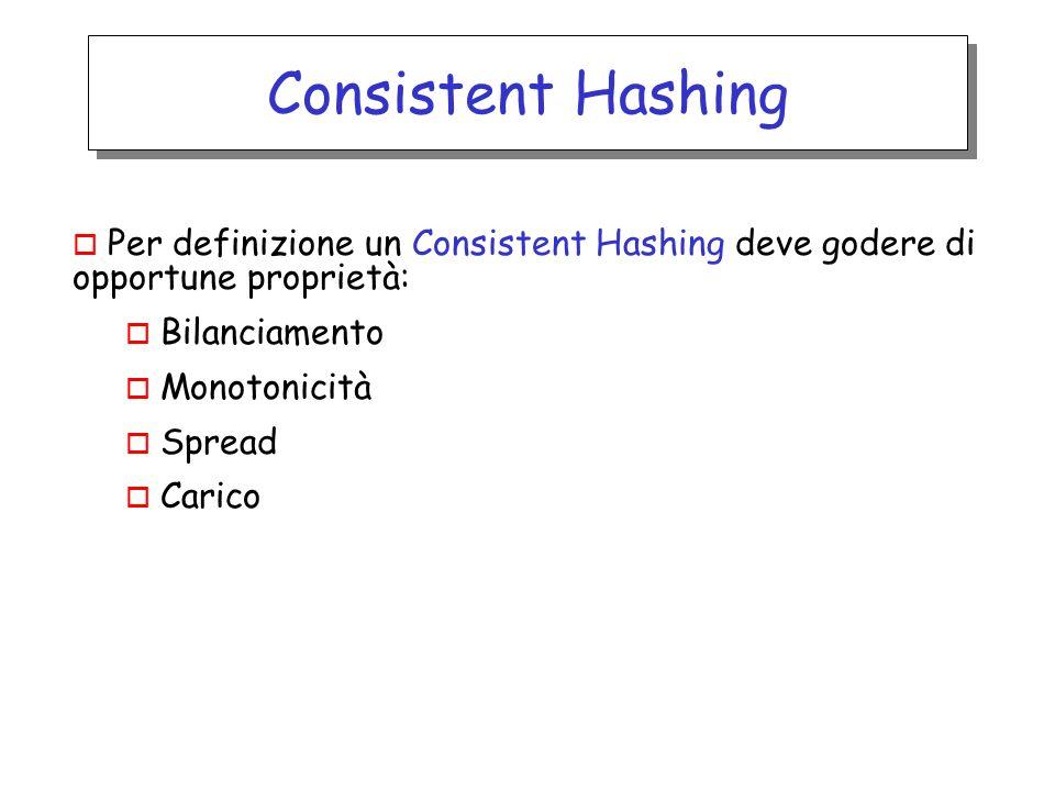 Consistent Hashing o Per definizione un Consistent Hashing deve godere di opportune proprietà: o Bilanciamento o Monotonicità o Spread o Carico