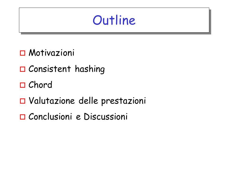 Outline o Motivazioni o Consistent hashing o Chord o Valutazione delle prestazioni o Conclusioni e Discussioni
