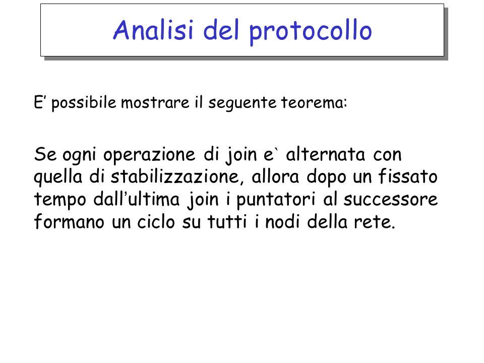 Analisi del protocollo E possibile mostrare il seguente teorema: Se ogni operazione di join e ` alternata con quella di stabilizzazione, allora dopo u