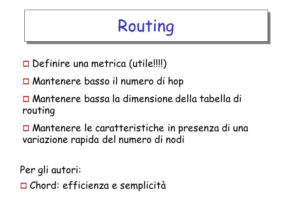 Routing o Definire una metrica (utile!!!!) o Mantenere basso il numero di hop o Mantenere bassa la dimensione della tabella di routing o Mantenere le caratteristiche in presenza di una variazione rapida del numero di nodi Per gli autori: o Chord: efficienza e semplicità