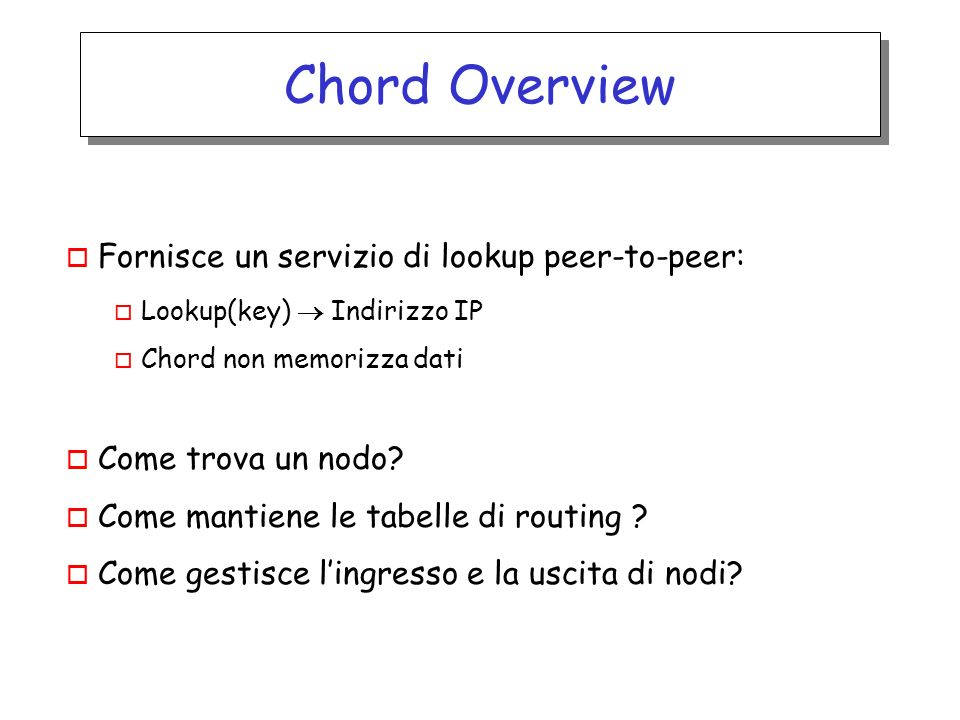 Chord Overview o Fornisce un servizio di lookup peer-to-peer: o Lookup(key) Indirizzo IP o Chord non memorizza dati o Come trova un nodo? o Come manti