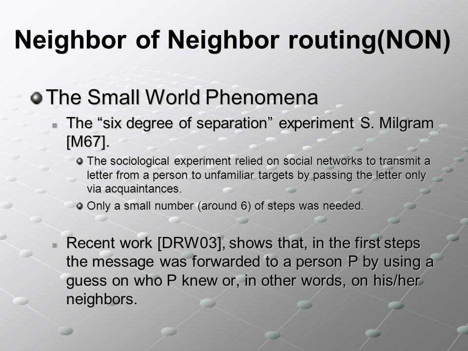 Neighbor of Neighbor routing(NON) Denotiamo con (n) laverage path length Teorema (n) = (log n) hops for greedy routing in R-Chord (n) = (log n) hops for greedy routing in R-ChordProva Bisogna mostrare che (n) = O(log n) e (n) = (log n) 1) (n) = O(log n) Consideriamo tutte le possibili topologie che derivano da R-Chord.