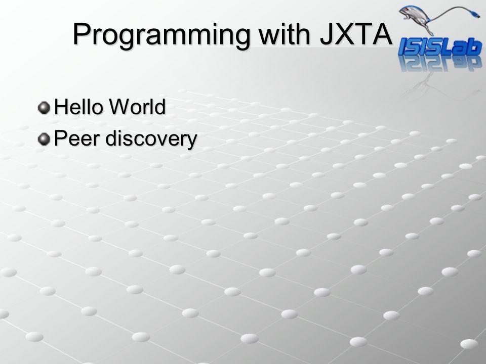 JXTA: Hello World Requirement Java SDK (http://java.sun.com)[jdk1.6.0_03] Java SDK (http://java.sun.com)[jdk1.6.0_03]http://java.sun.com JXTA (http://download.jxta.org/index.html) [JXTA 2.5] JXTA (http://download.jxta.org/index.html) [JXTA 2.5]http://download.jxta.org/index.html) jxse-lib-2.5jxse-tutorials-2.5jxse-doc-2.5