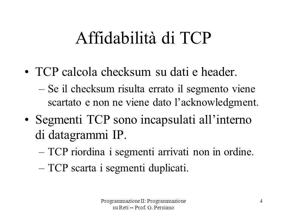 Programmazione II: Programmazione su Reti -- Prof.