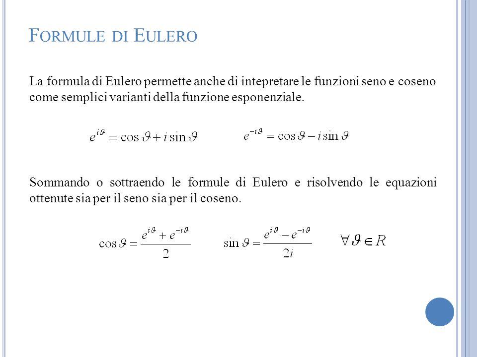 F ORMULE DI E ULERO La formula di Eulero permette anche di intepretare le funzioni seno e coseno come semplici varianti della funzione esponenziale. S