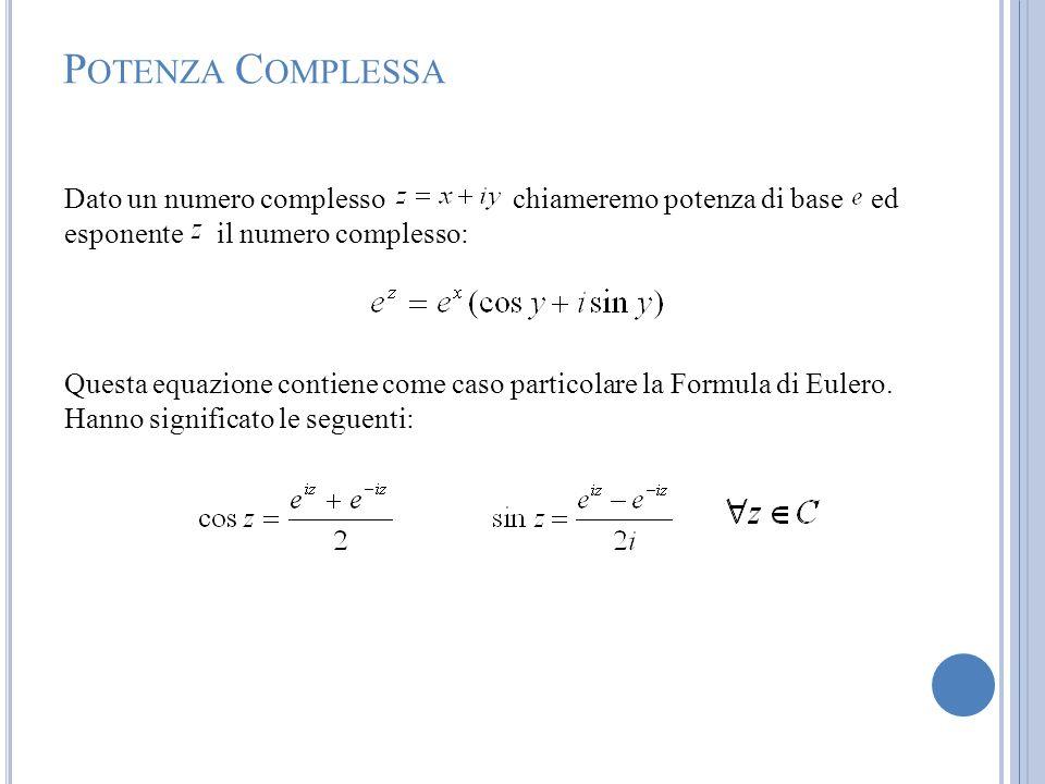 P OTENZA C OMPLESSA Dato un numero complesso chiameremo potenza di base ed esponente il numero complesso: Questa equazione contiene come caso particol
