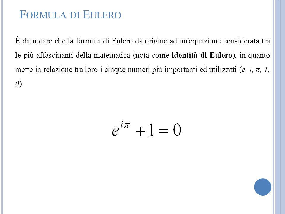 F ORMULA DI E ULERO È da notare che la formula di Eulero dà origine ad un'equazione considerata tra le più affascinanti della matematica (nota come id