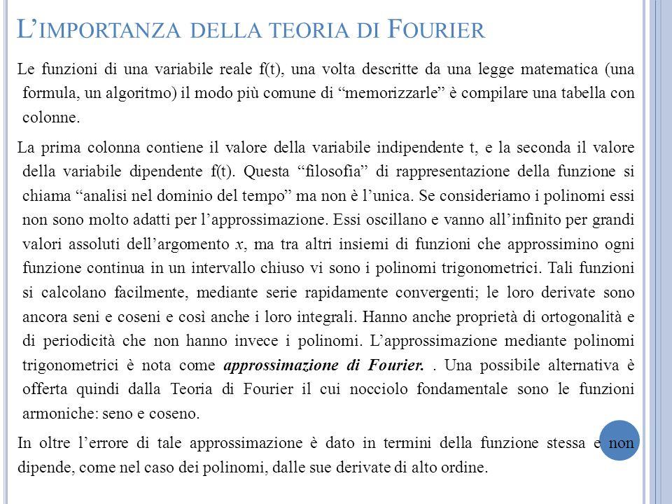 L IMPORTANZA DELLA TEORIA DI F OURIER Le funzioni di una variabile reale f(t), una volta descritte da una legge matematica (una formula, un algoritmo)