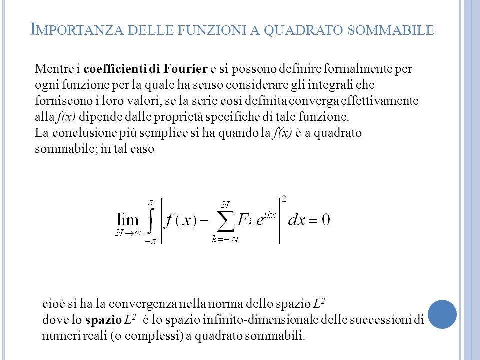 Mentre i coefficienti di Fourier e si possono definire formalmente per ogni funzione per la quale ha senso considerare gli integrali che forniscono i