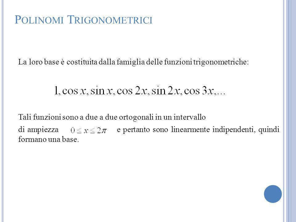 P OLINOMI T RIGONOMETRICI La loro base è costituita dalla famiglia delle funzioni trigonometriche: Tali funzioni sono a due a due ortogonali in un int