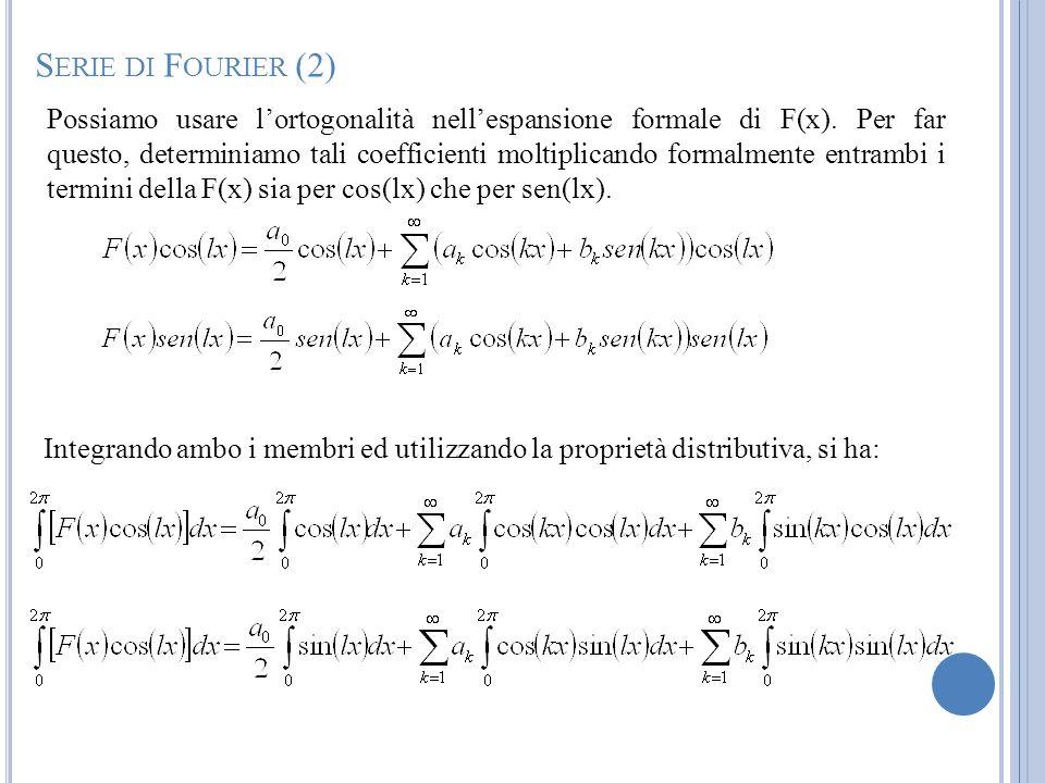 Possiamo usare lortogonalità nellespansione formale di F(x). Per far questo, determiniamo tali coefficienti moltiplicando formalmente entrambi i termi
