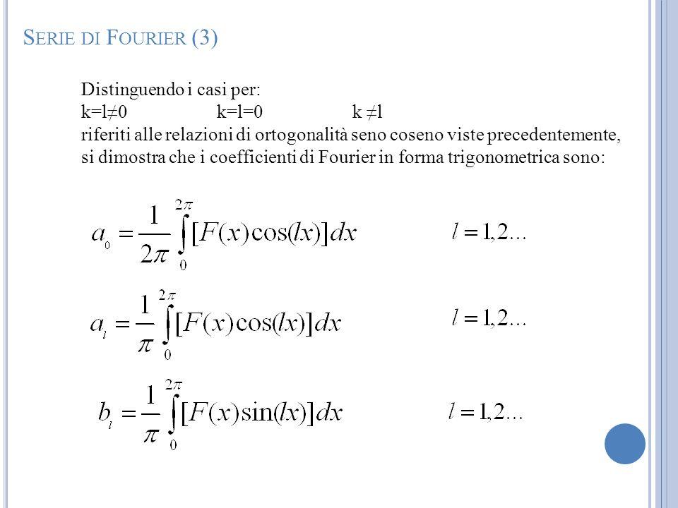 Distinguendo i casi per: k=l0k=l=0k l riferiti alle relazioni di ortogonalità seno coseno viste precedentemente, si dimostra che i coefficienti di Fou