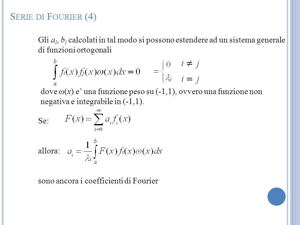 Gli a l, b l calcolati in tal modo si possono estendere ad un sistema generale di funzioni ortogonali dove ω(x) e una funzione peso su (-1,1), ovvero