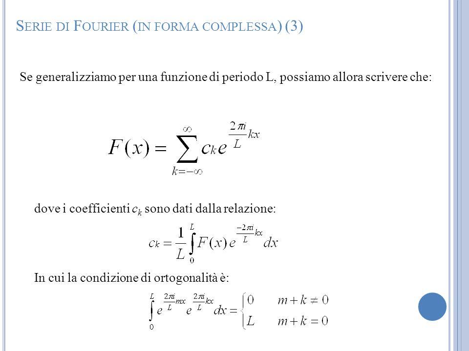 Se generalizziamo per una funzione di periodo L, possiamo allora scrivere che: dove i coefficienti c k sono dati dalla relazione: In cui la condizione