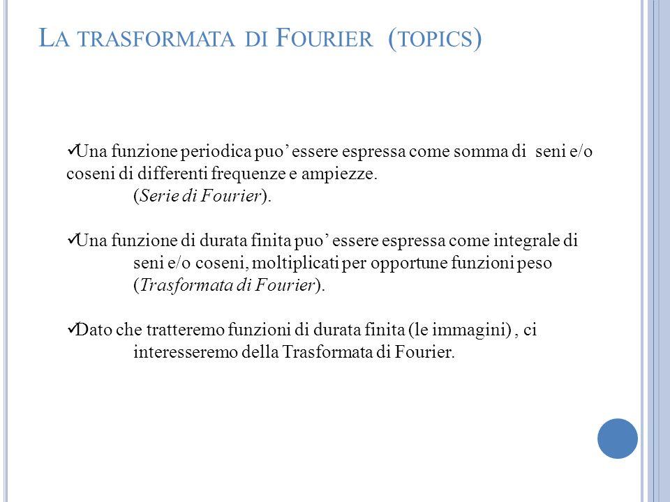 L A TRASFORMATA DI F OURIER ( TOPICS ) Una funzione periodica puo essere espressa come somma di seni e/o coseni di differenti frequenze e ampiezze. (S