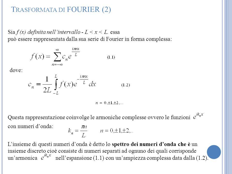 T RASFORMATA DI FOURIER (2) Questa rappresentazione coinvolge le armoniche complesse ovvero le funzioni con numeri donda: Linsieme di questi numeri do
