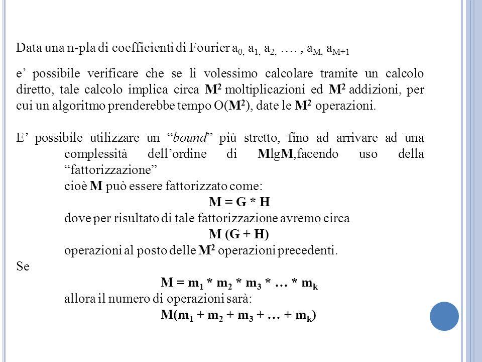 Data una n-pla di coefficienti di Fourier a 0, a 1, a 2, …., a M, a M+1 e possibile verificare che se li volessimo calcolare tramite un calcolo dirett