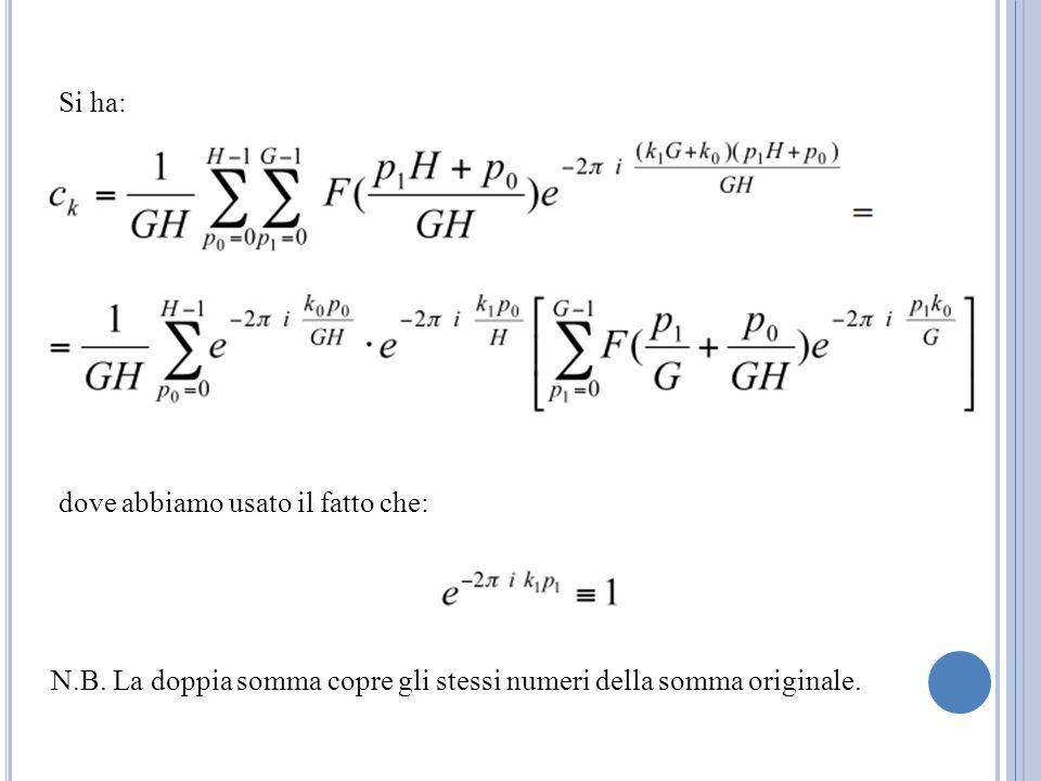 Si ha: dove abbiamo usato il fatto che: N.B. La doppia somma copre gli stessi numeri della somma originale.