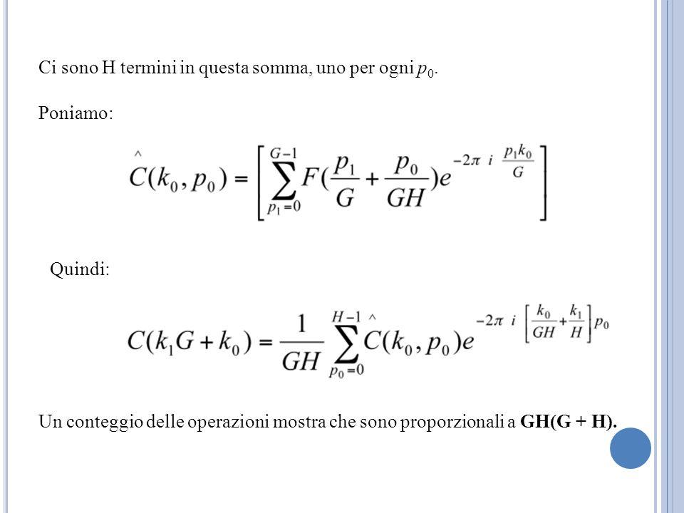 Ci sono H termini in questa somma, uno per ogni p 0. Poniamo: Quindi: Un conteggio delle operazioni mostra che sono proporzionali a GH(G + H).