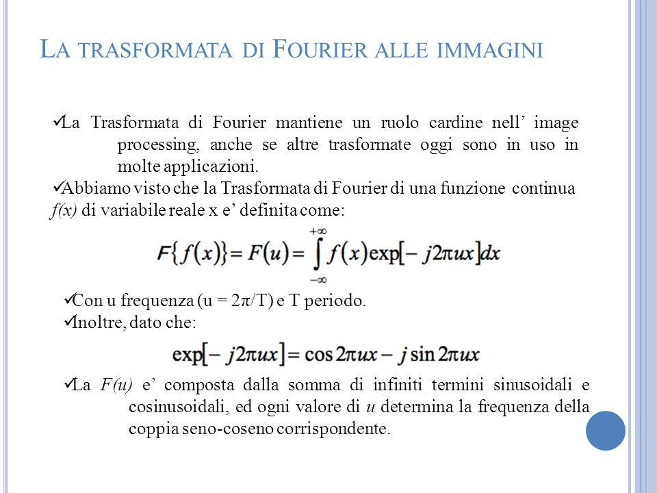 La Trasformata di Fourier mantiene un ruolo cardine nell image processing, anche se altre trasformate oggi sono in uso in molte applicazioni. Abbiamo