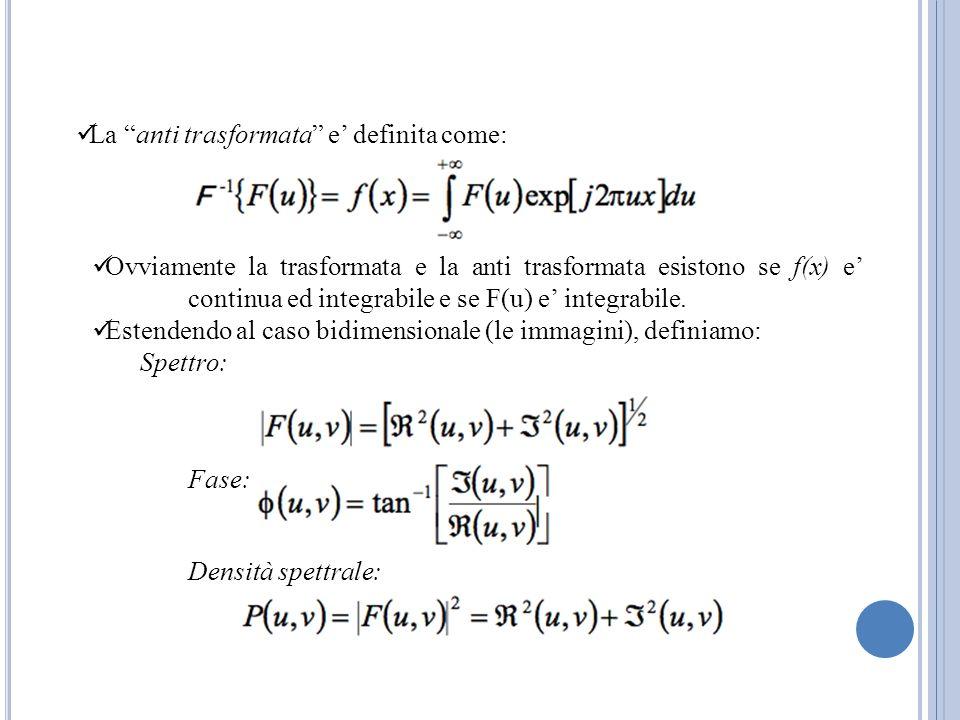 La anti trasformata e definita come: Ovviamente la trasformata e la anti trasformata esistono se f(x) e continua ed integrabile e se F(u) e integrabil