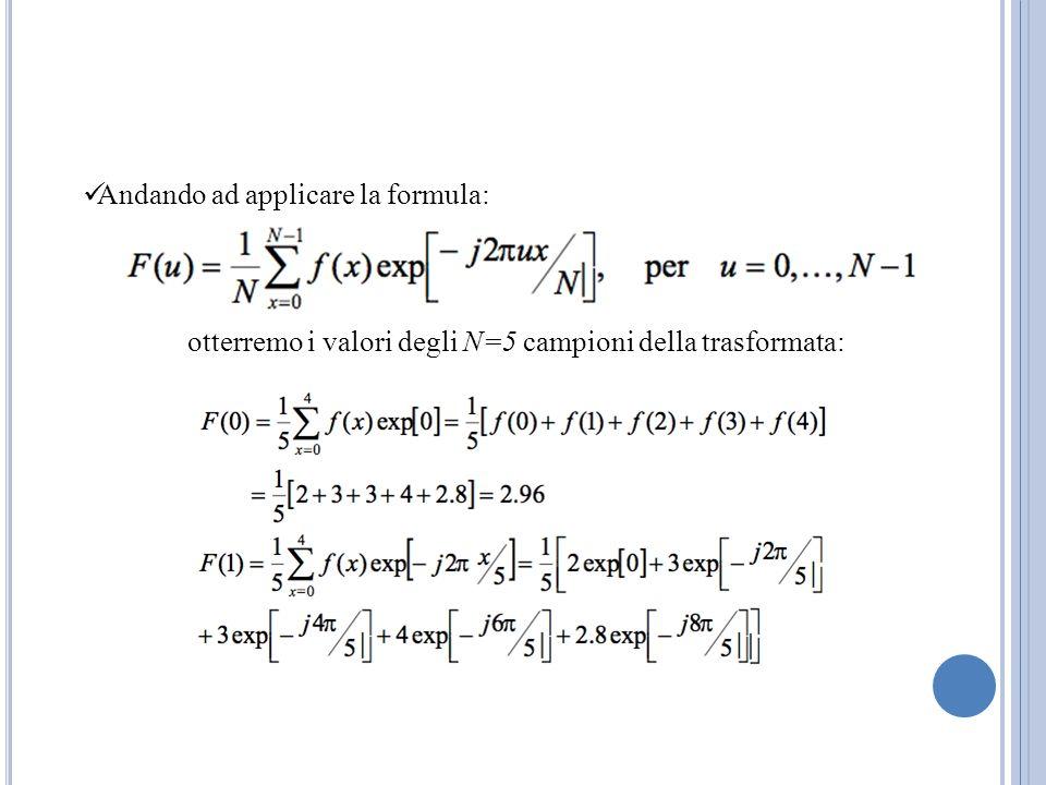 Andando ad applicare la formula: otterremo i valori degli N=5 campioni della trasformata: