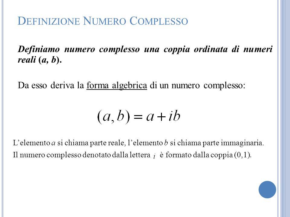D EFINIZIONE N UMERO C OMPLESSO Definiamo numero complesso una coppia ordinata di numeri reali (a, b). Da esso deriva la forma algebrica di un numero
