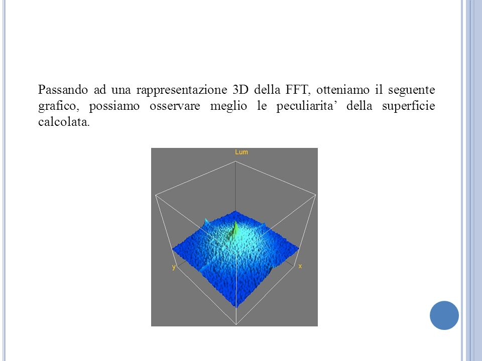 Passando ad una rappresentazione 3D della FFT, otteniamo il seguente grafico, possiamo osservare meglio le peculiarita della superficie calcolata.