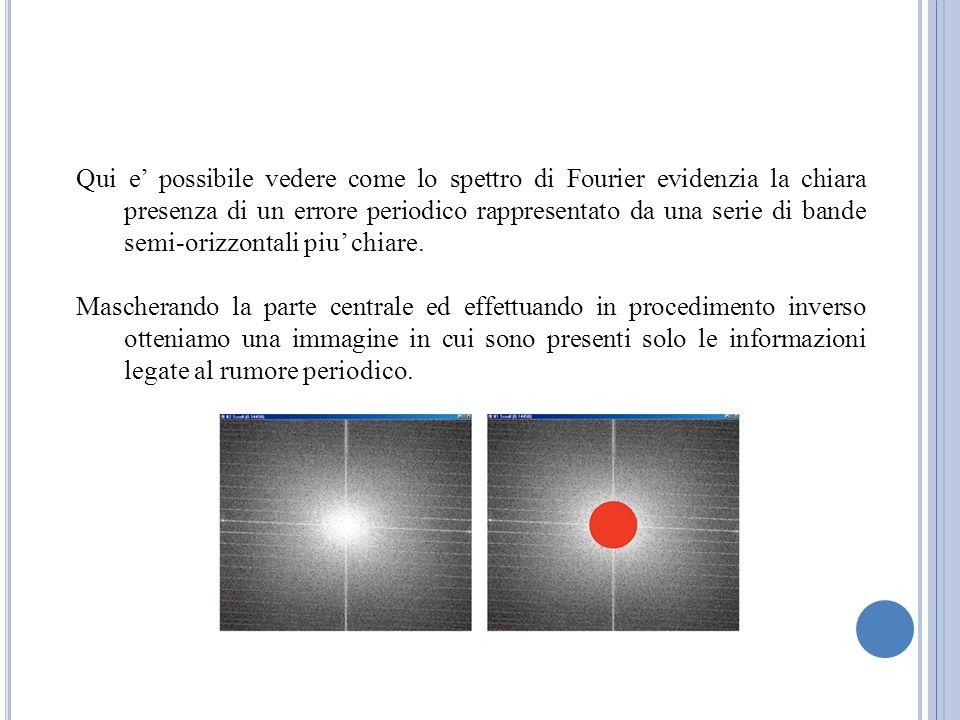 Qui e possibile vedere come lo spettro di Fourier evidenzia la chiara presenza di un errore periodico rappresentato da una serie di bande semi-orizzon