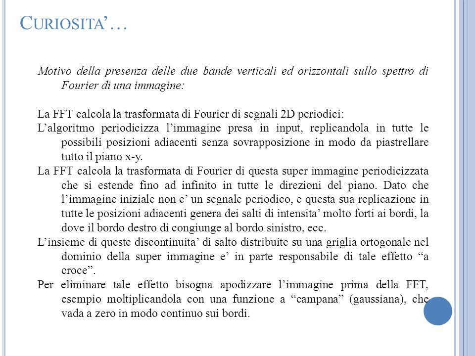 C URIOSITA … Motivo della presenza delle due bande verticali ed orizzontali sullo spettro di Fourier di una immagine: La FFT calcola la trasformata di